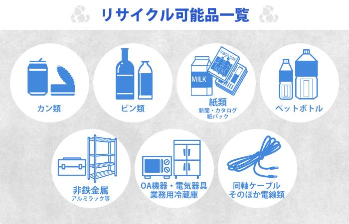 リサイクル可能品一覧