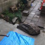 横浜市中区庭石撤去作業